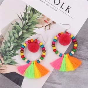 Jewelry - GORGEOUS POM POM COLORFUL  EARRINGS NEW
